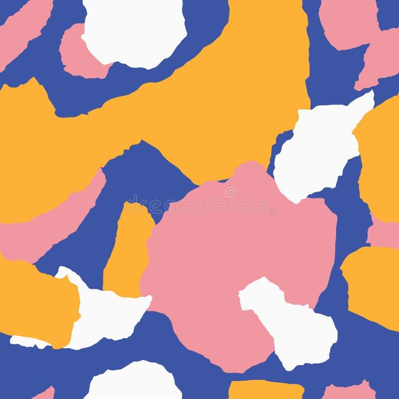 Heftiges zeitgenössisches nahtloses Muster des Papiers mit tropischen Blättern stock abbildung