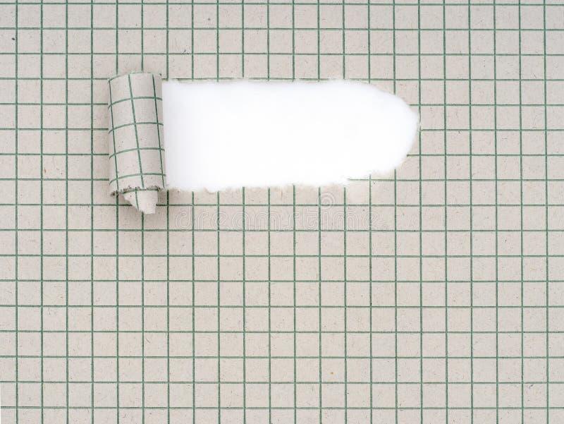 Heftiges, zerrissenes quadratisches Schulschreibheftalias Übungsbuch, Papier mit gekräuseltem, gerolltem Ende Hintergrund lizenzfreie stockbilder