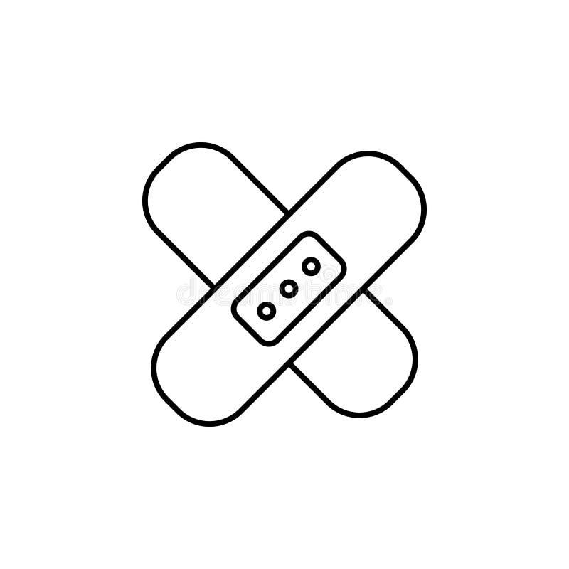 Heftpflasterlinie Ikone Element von Medizin bearbeitet Ikone Erstklassiges Qualitätsgrafikdesign Zeichen, Symbolsammlung, einfach lizenzfreie abbildung