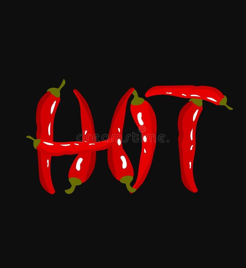 heiß Beschriftung mit Pfeffern des roten Paprikas lizenzfreies stockbild