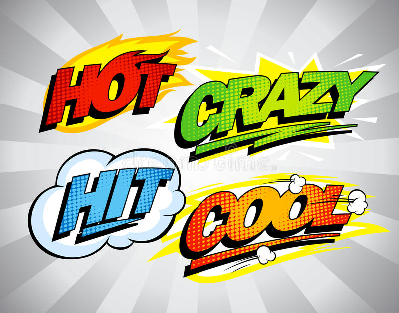 Heiß, verrückt, Schlag, kühle Pop-Arten-Symbole stock abbildung