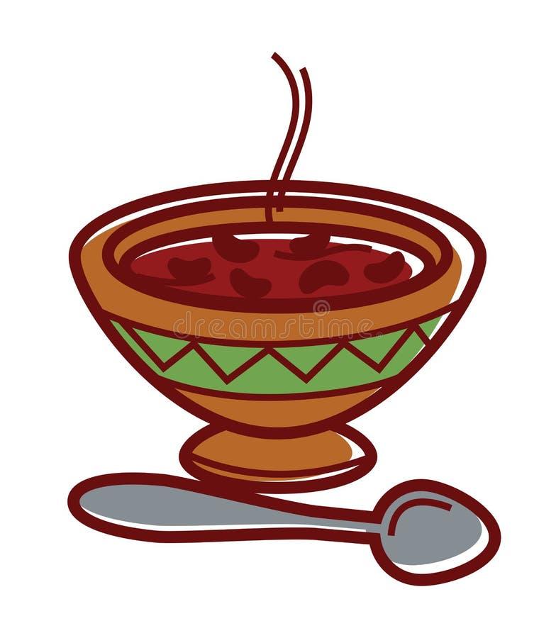 Heiße Bohnensuppe in der Lehmschüssel mit Verzierung stock abbildung