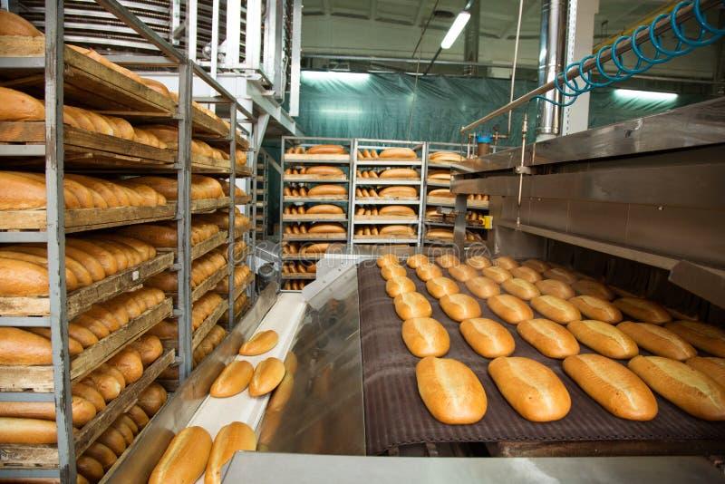 Heiße gebackene Brote auf einer Linie stockbild