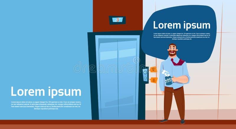 Heiße Kaffeetasse Geschäftsmann-Chef-Waiting Elevator Holds, modernes Büro-Innenfahne mit Kopien-Raum lizenzfreie abbildung