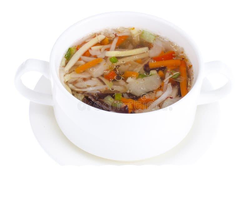 Heiße klare Suppe mit Gemüse, vegetarisches Menü lizenzfreies stockbild
