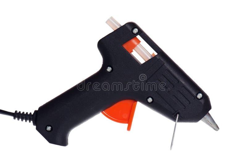 Heiße Kleberpistole getrennt auf Weiß stockbilder
