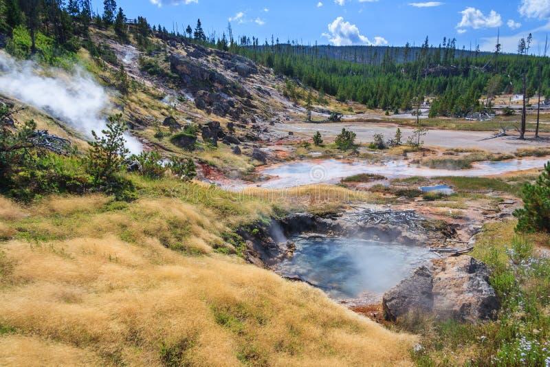 Heiße Quellen und Geysire an Yellowstone Nationalpark Wyoming USA lizenzfreie stockfotografie