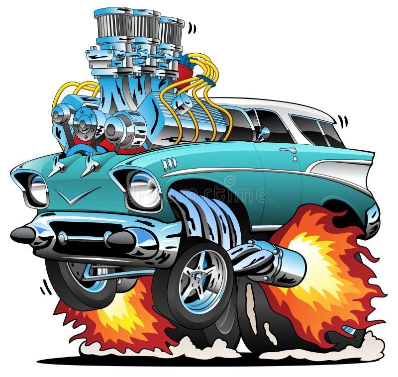Heiße Rod Muscle Car Cartoon Vector-Illustration der klassischen Fünfziger Jahre vektor abbildung