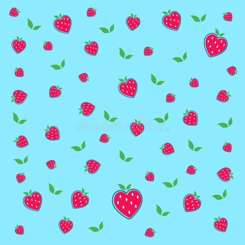 Heiße rote Erdbeeren und grüne Blätter lizenzfreie abbildung