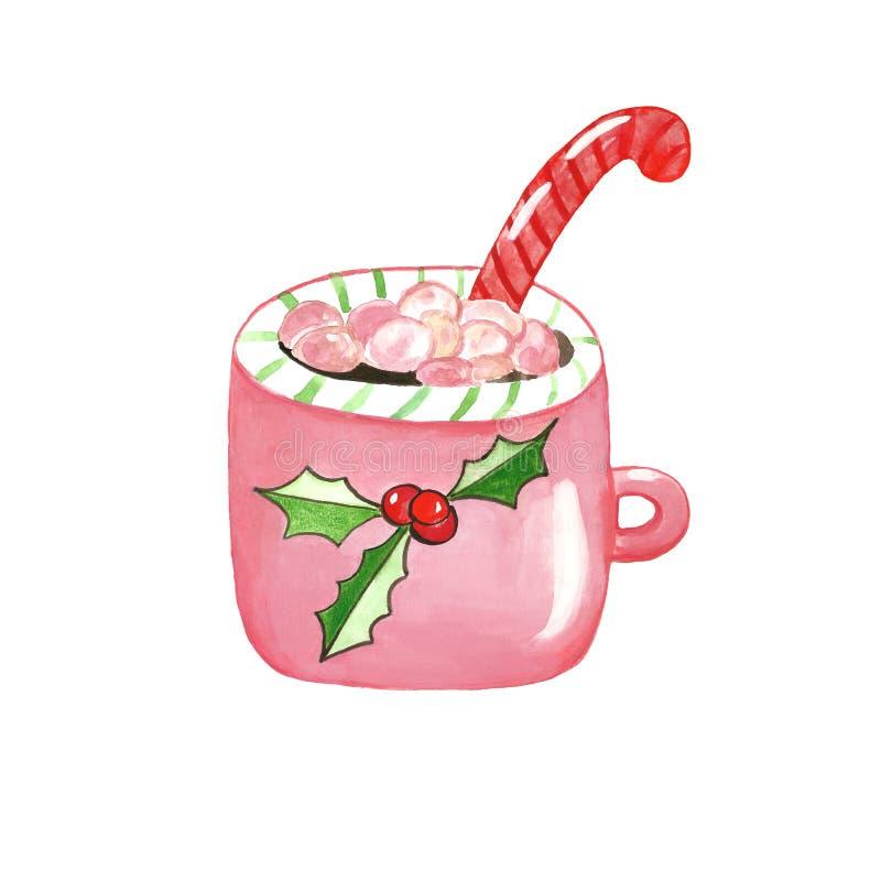 Heiße Schokolade des Weihnachtssymbolhandgezogenen Aquarells/KakaoKaffeetasse vektor abbildung