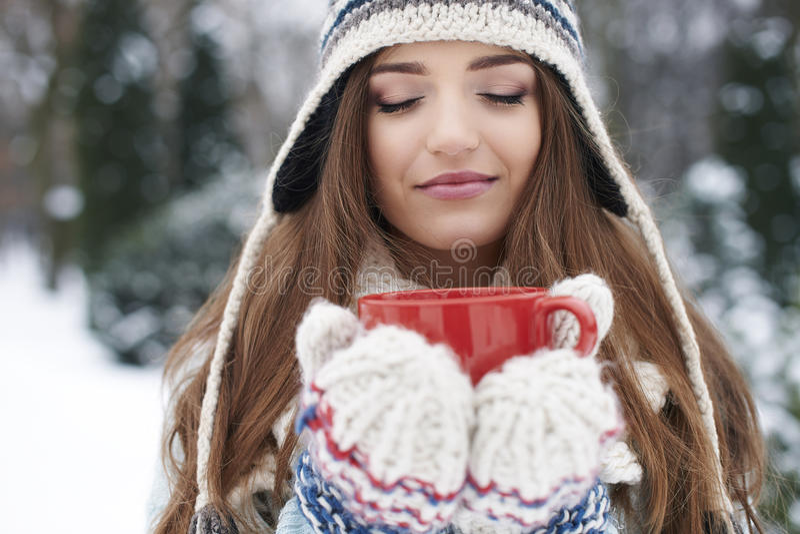 Heiße Schokolade im Winter stockbild