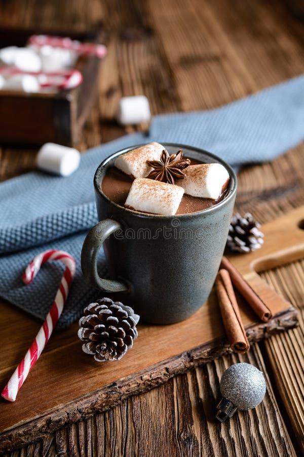 Heiße Schokolade mit den Eibischen, besprüht mit Zimt lizenzfreie stockfotografie