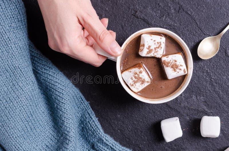 Heiße Schokolade mit Eibisch in der Frauenhand lizenzfreie stockfotografie