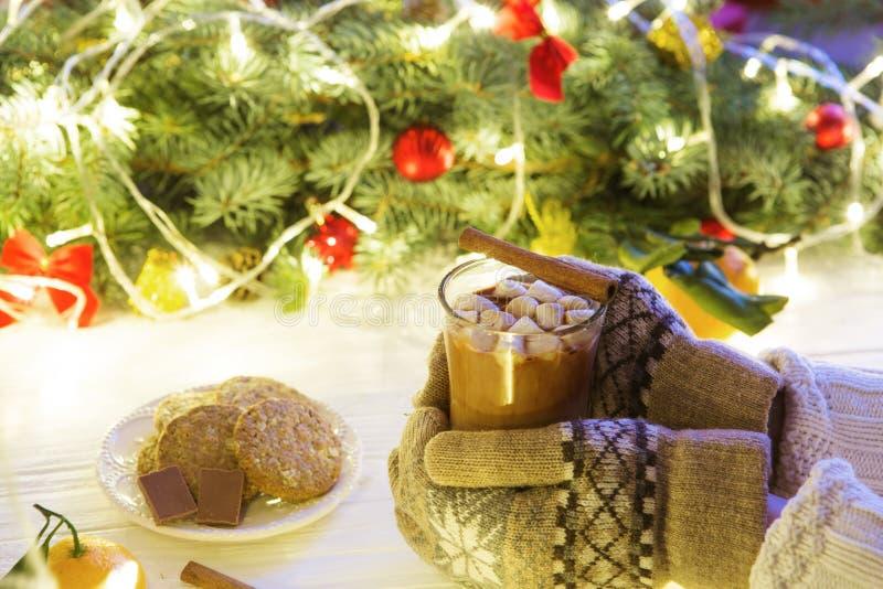 Heiße Schokolade mit Eibisch in der Frauenhand in den Handschuhen und in der Strickjacke auf einem weißen Holztisch vor dem hinte stockbild