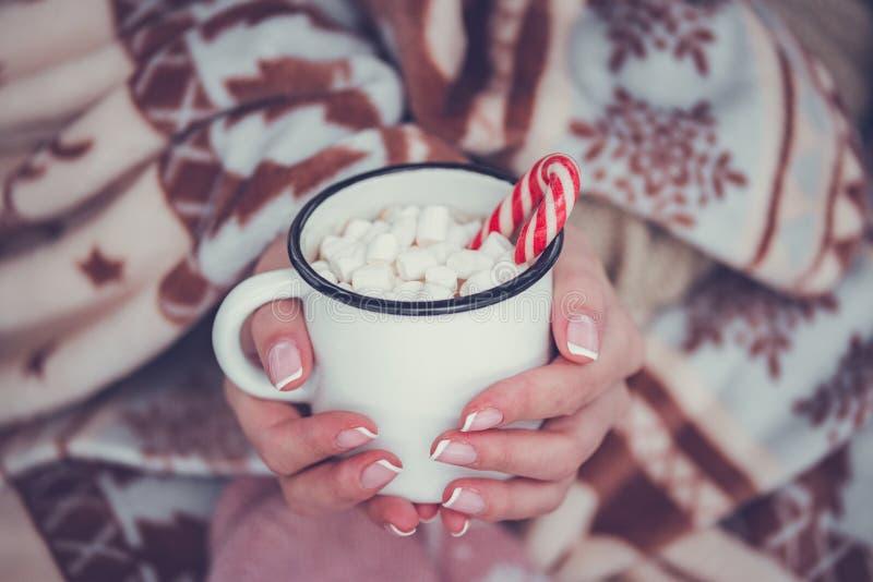 Heiße Schokolade mit Eibisch in der Frauenhand und -strickjacke stockfotos