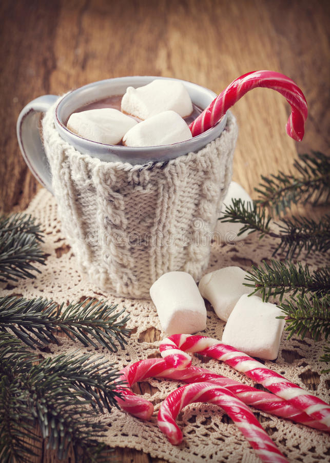 Heiße Schokolade mit Eibischen stockbild