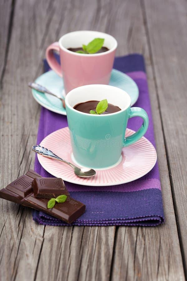 Heiße Schokolade mit Minze lizenzfreie stockbilder