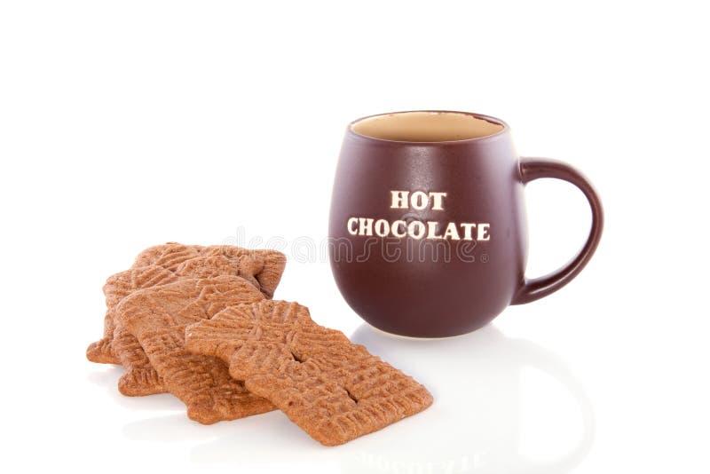 Heiße Schokolade mit speculaas stockbilder
