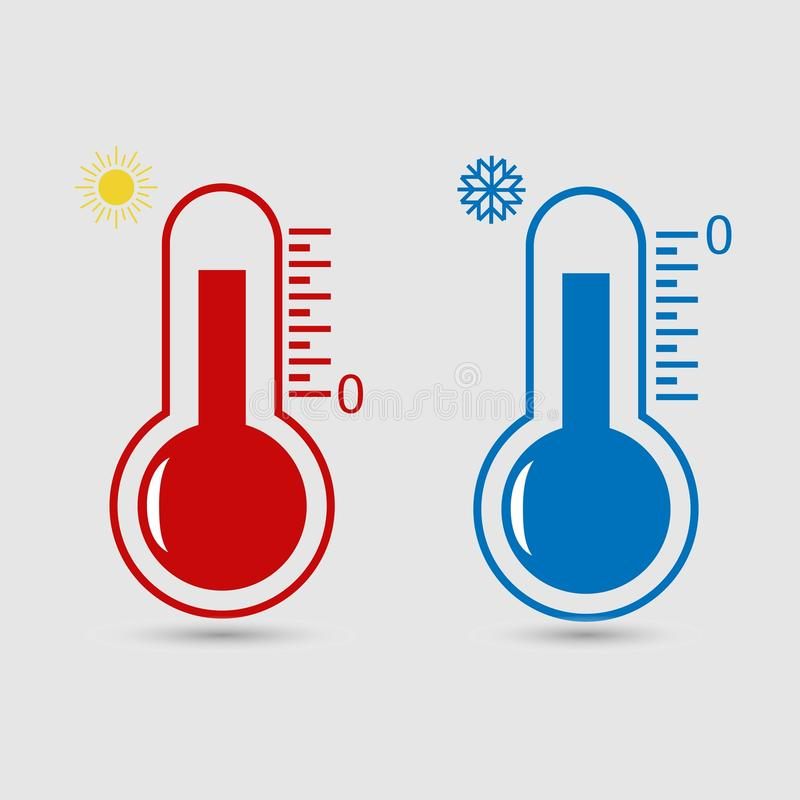 Heiße und kalte Thermometervektorikone vektor abbildung