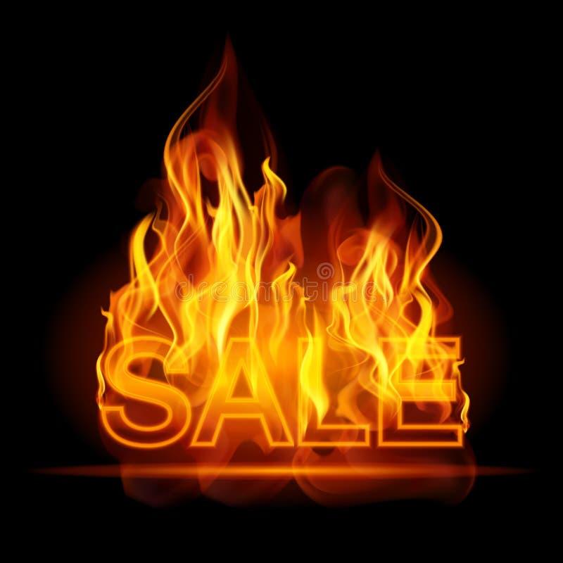 Heiße Verkaufsanschlagtafelfahne mit glühendem Text in den Flammen plakat abstrakte Vektorillustration lizenzfreie abbildung