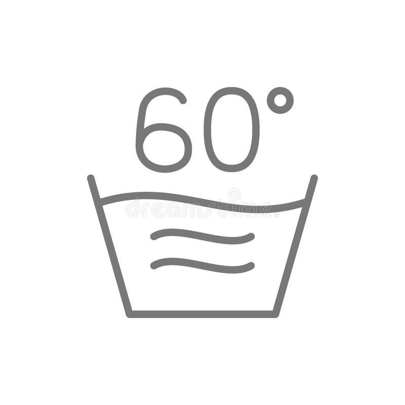 Heiße Wäscherei, 60 Grad Temperaturlinie Ikone waschend lizenzfreie abbildung
