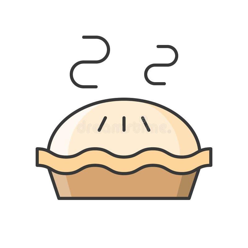Heißer Apfelkuchen, Bonbons und Gebäcksatz, füllte Entwurfsikone lizenzfreie abbildung