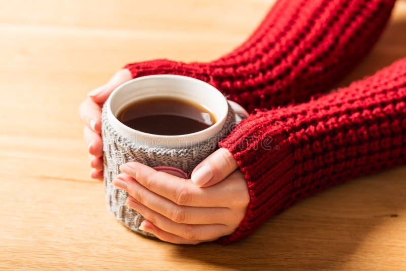 Heißer Becher Hände der Erwärmungsfrau des Tees im Retro- Pullover stockbilder