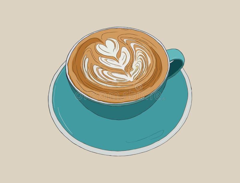 Heißer cappucino Kaffee mit Lattekunst, Skizzenvektor lizenzfreie abbildung