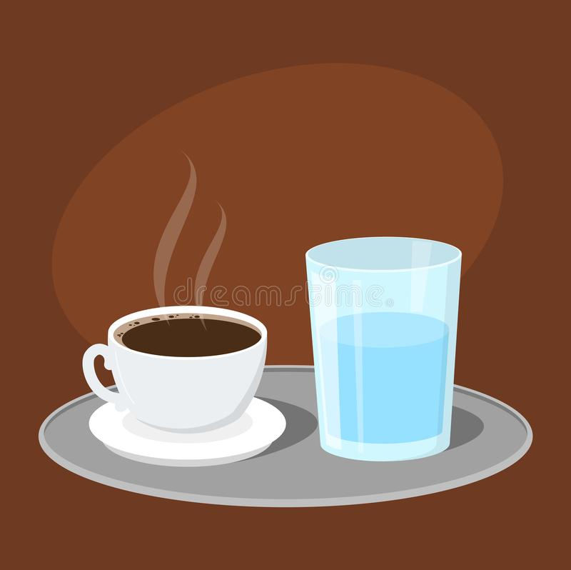 Heißer geschmackvoller türkischer Kaffee diente mit einem Glas Wasser vektor abbildung