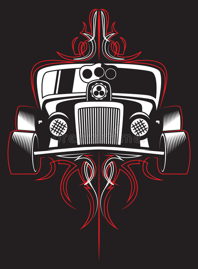 Heißer Rod Retro- Auto nadelstreifen Vektor lizenzfreie abbildung