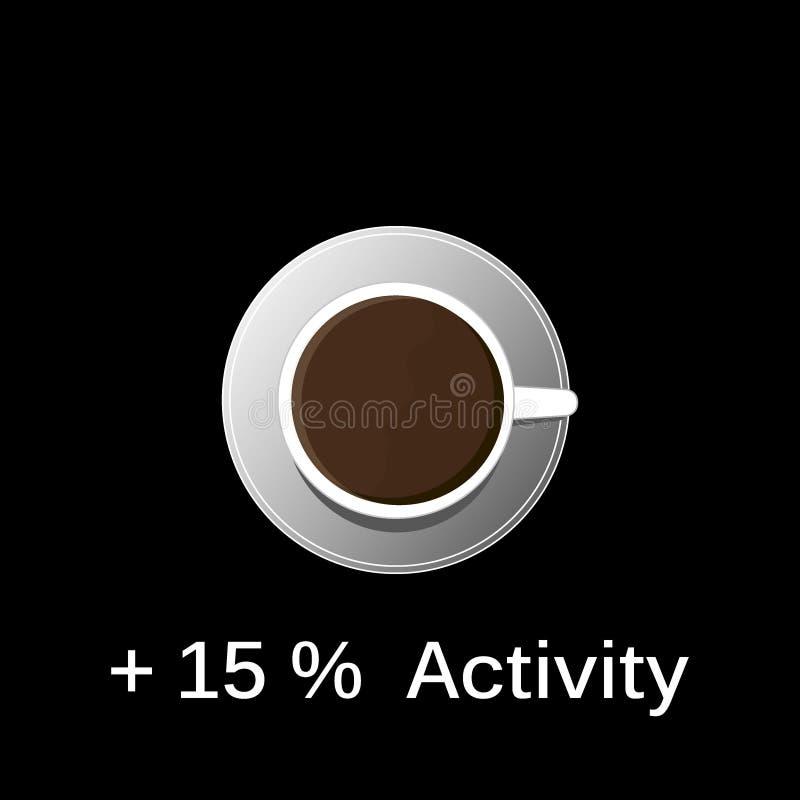 Heißer schwarzer Kaffee in einem weißen Trägershirt auf einem schwarzen Hintergrund stock abbildung
