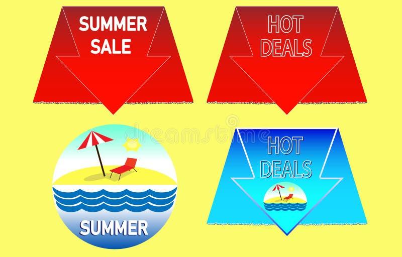 Heißer Sommerschlussverkauf Heiße Sommerzeit Sommerferienplakat lizenzfreie abbildung
