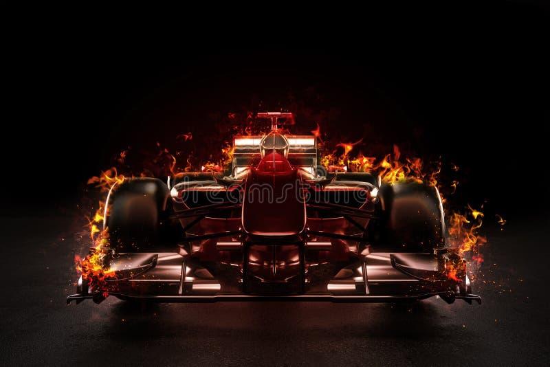 Heißer Teammotorsportrennwagen mit Studiobeleuchtung und Feuereffekt lizenzfreie abbildung