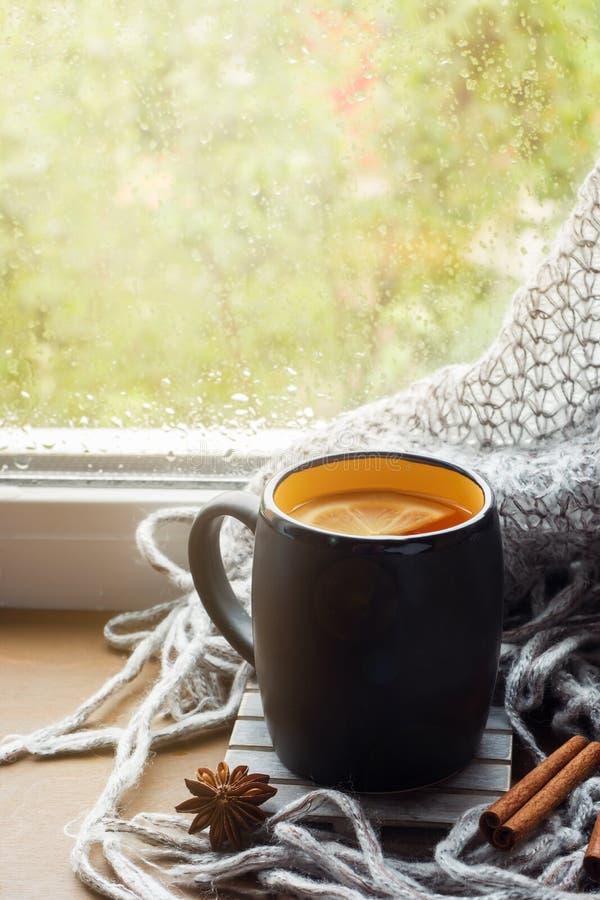 Heißer Tee der Schale mit Zitrone auf dem Woolen Plaid des Fensterbretts Des Herbstes Leben noch Es ` s, das drau?en regnet Kopie stockfoto