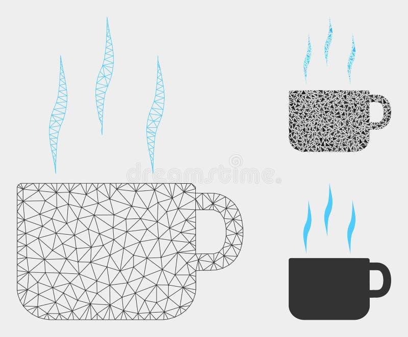 Heißer Tee-Schalen-Vektor Mesh Wire Frame Model und Dreieck-Mosaik-Ikone lizenzfreie abbildung