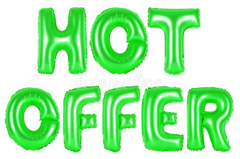Heißes Angebot, grüne Farbe stockfotografie