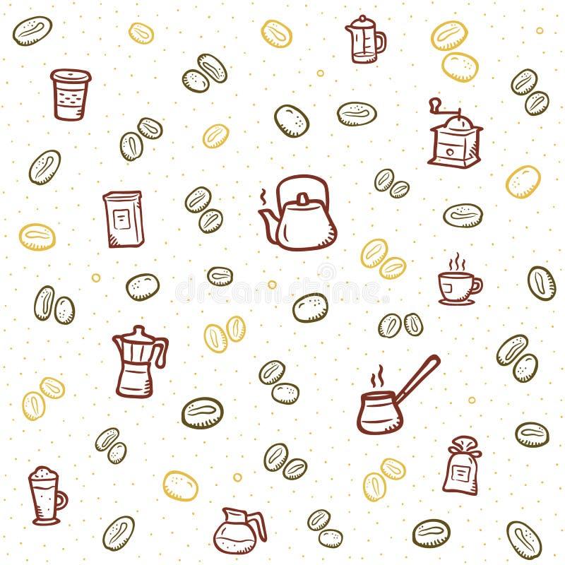 Heißes coffe Muster mit farbigen Ikonen lizenzfreie abbildung