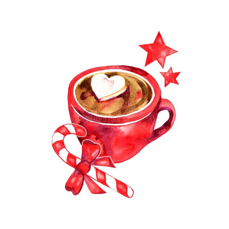 Heißes Getränk des Winters, Kakao mit Eibischen Cup heiße Schokolade mit Eibischen Traditionelles Getränk für Winterzeit stock abbildung