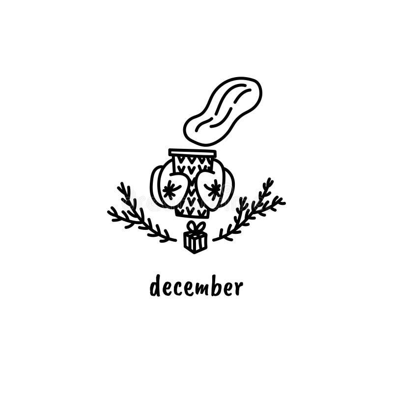 Heißes Kakao, Tee, Kaffee oder Glühwein Weihnachtsjahreszeitgekritzel Handgezogene Kalenderillustration Küche, Stange lizenzfreie abbildung