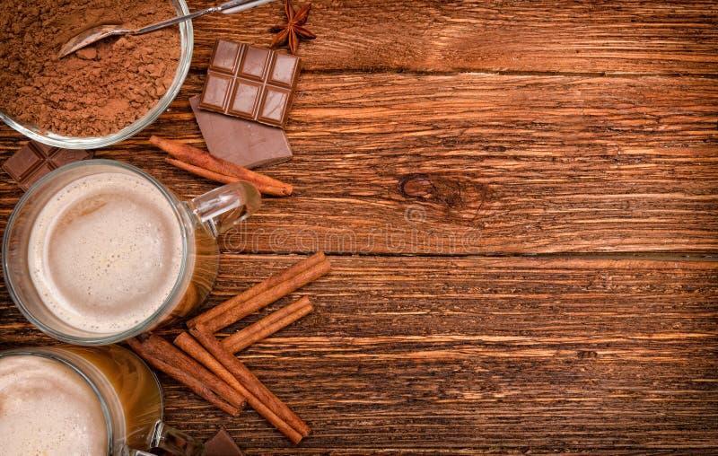 Heißes Kakaogetränk Hintergrund stockfotos