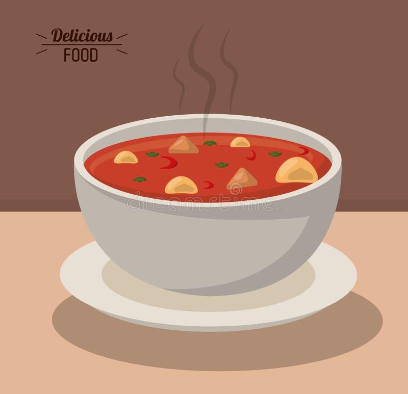 Heißes Nahrungsgemüse der köstlichen Lebensmittelschüsselsuppe lizenzfreie abbildung
