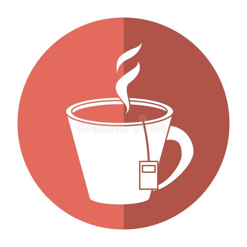 Heißes Schalenkraut des Tees aromatisch - runde Ikone lizenzfreie abbildung