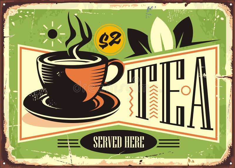 Heißes Teeweinlese-Zinnzeichen mit Schale des grünen Tees stock abbildung