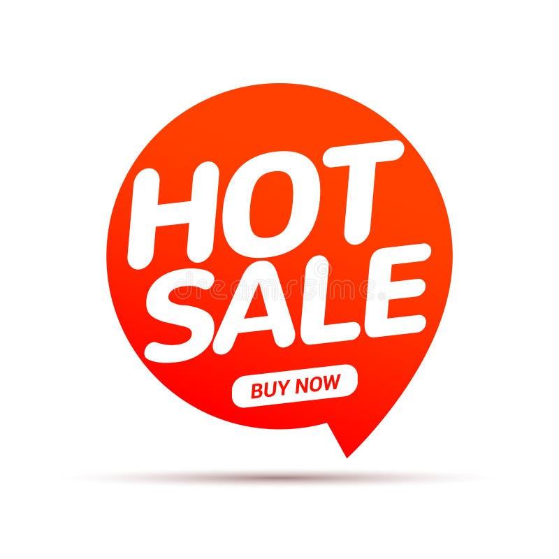 Heißes Verkaufsspracheblasenfahne Promozeichen Rabattumbau-Entwurfsschablone Geschäftsverkaufsaufklebervektor Promoangebot stock abbildung