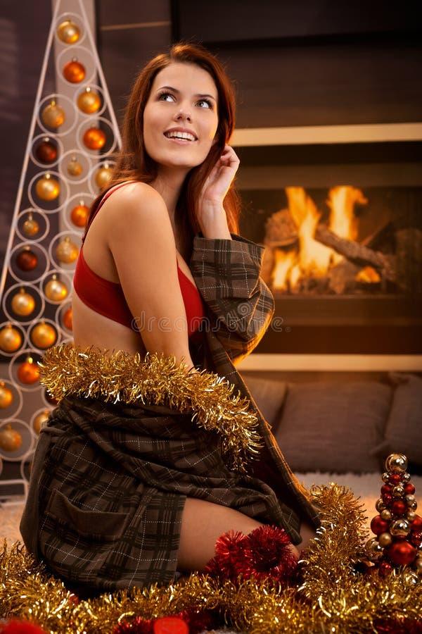 Heißes Weihnachtsmädchen stockfoto