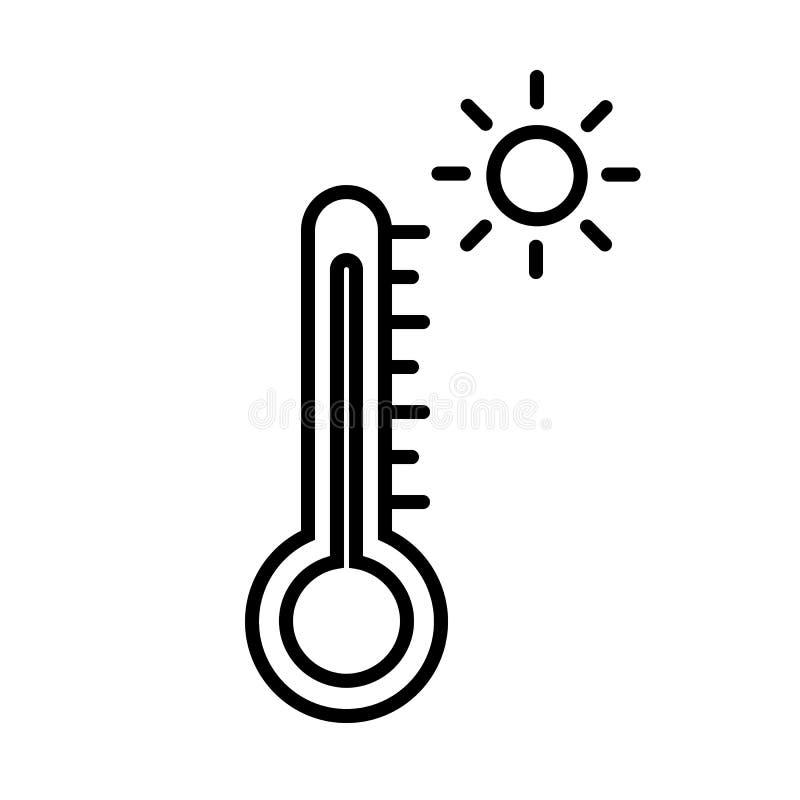 Heißes Wetter-Thermometer-Ikonen-Vektor stock abbildung