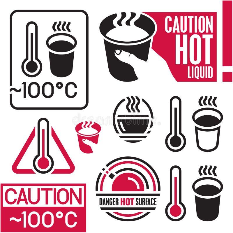 Heißes Zeichen der Vorsicht, Kaffee stock abbildung