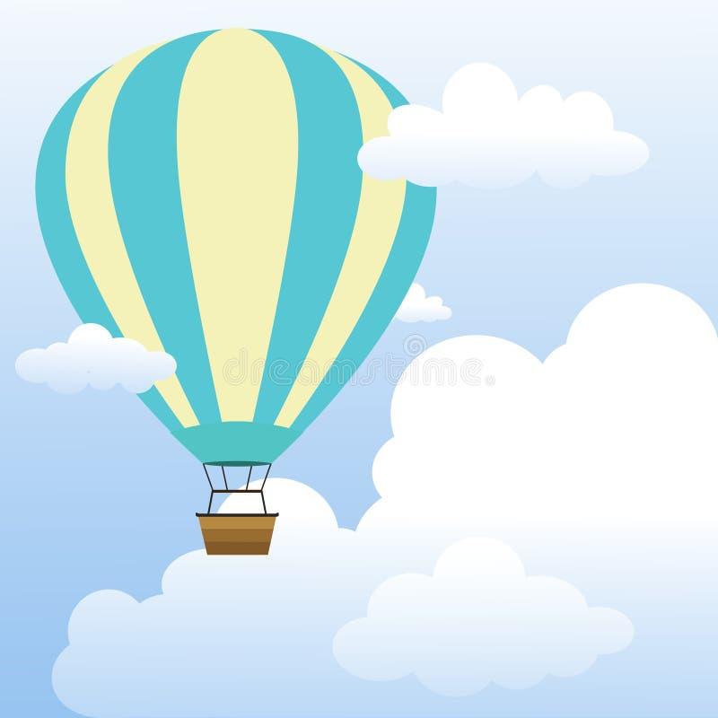 Heißluft-Ballon, der in bewölkte blauer Himmel-Ansicht schwimmt Heller Himmel mit Wolken-Vektor-Illustration lizenzfreie abbildung