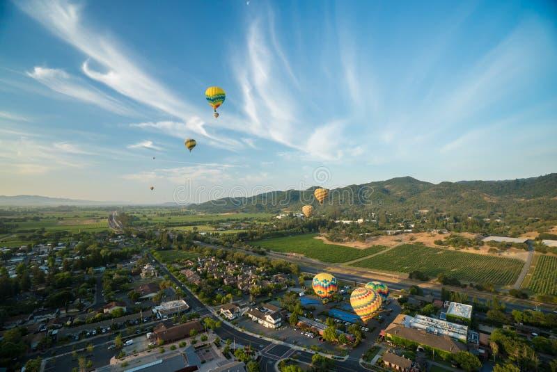 Heißluft-Ballone, die über Weinberge schwimmen stockfotografie