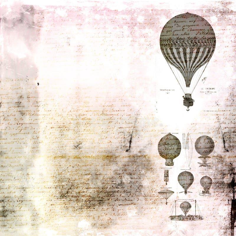 Heißluft steigt Weinlesehintergrund im Ballon auf stock abbildung